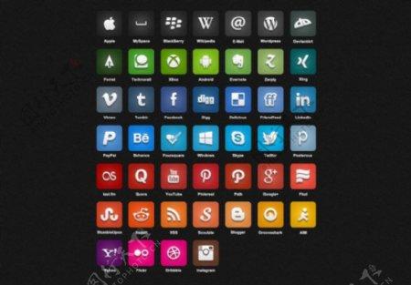 质感社交手机图标大全psd素材