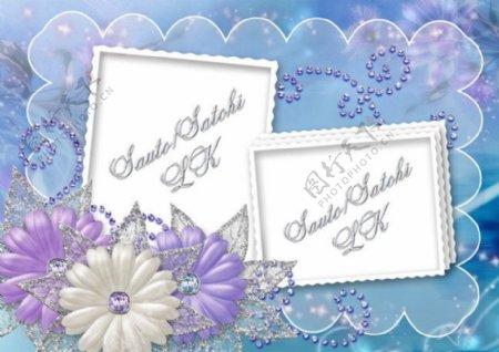 淡雅兰色花纹花朵相框模板