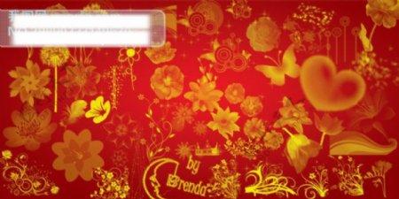 传统金色花纹图案PSD模板金色花纹传统图案PSD模板