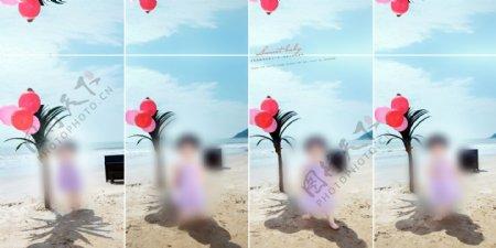 海滩假日儿童摄影模板图片