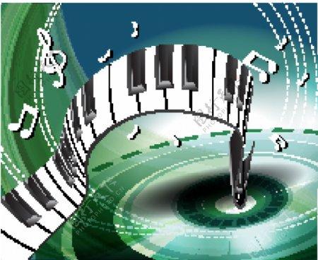 动感线条钢琴音符唱片音乐背景图片