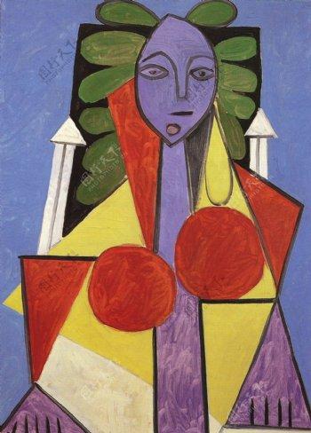 1946FemmedansunfauteuilFran鍣奿seGIlot西班牙画家巴勃罗毕加索抽象油画人物人体油画装饰画