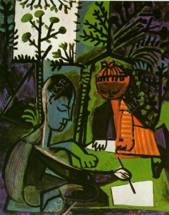 1954ClaudeetPalomadessinant西班牙画家巴勃罗毕加索抽象油画人物人体油画装饰画
