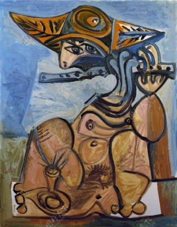 1971Lafl鏉steHommeassisjouantdelafl鏉西班牙画家巴勃罗毕加索抽象油画人物人体油画装饰画