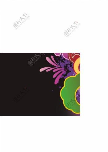 黑色背景花纹图片