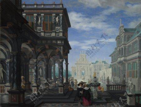 DirckvanDelenAnArchitecturalFantasy大师画家古典画古典建筑古典景物装饰画油画