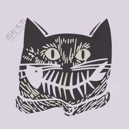 印花矢量图艺术效果手绘动物猫免费素材