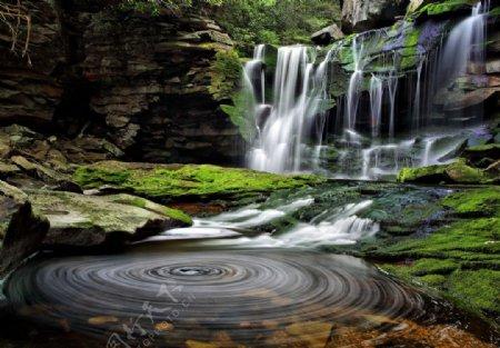 山中瀑布图片