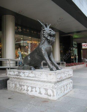 西单商业街麒麟像图片