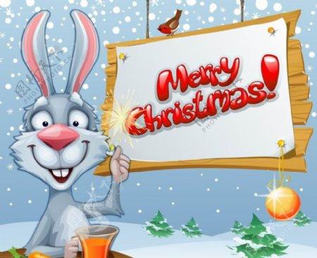卡通兔子圣诞背景图片