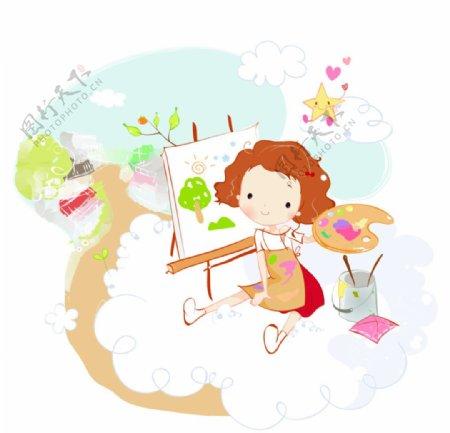 卡通儿童画画