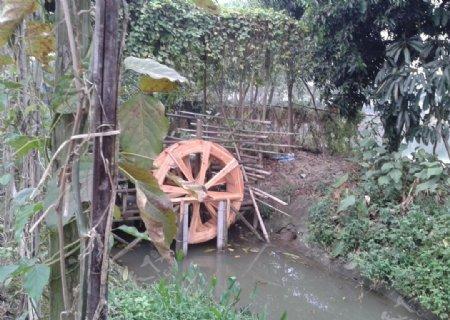 绿道古代农耕灌溉水车