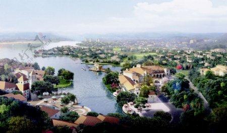 欧洲风格小镇鸟瞰效果图