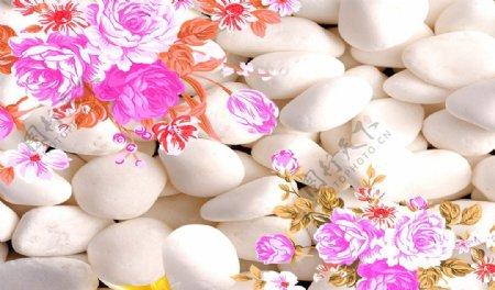 3D石头复古花卉素材