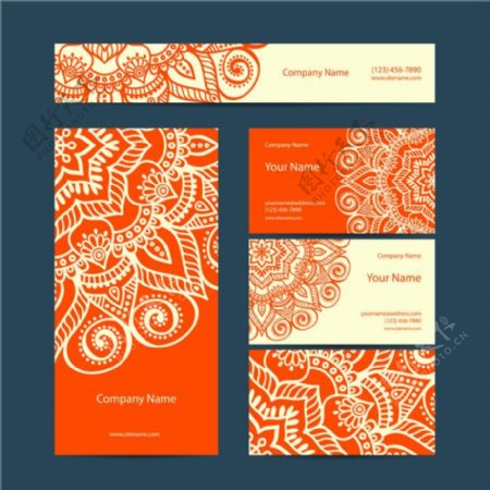 时尚民族花纹卡片设计矢量制作素材