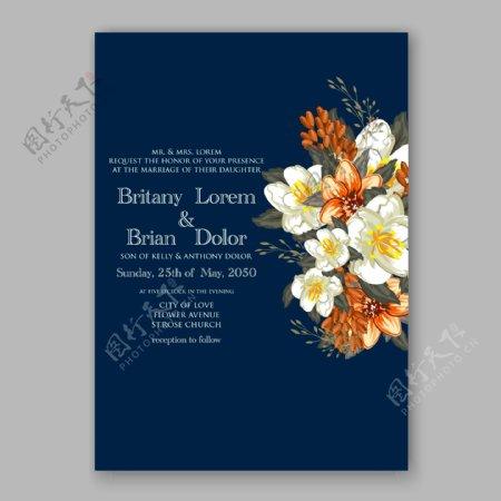 白色和橙色花朵婚礼请贴模板下载