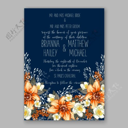 手绘花朵婚礼请贴模板下载