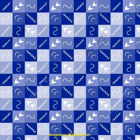 具有抽象形状的蓝色正方形图案