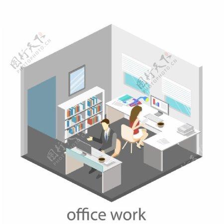 双人办公室设计图片