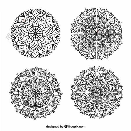 黑白色曼陀罗对称图案系列花纹