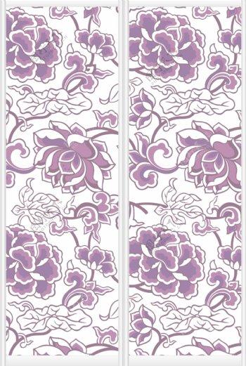 紫色牡丹花纹矢量图库下载