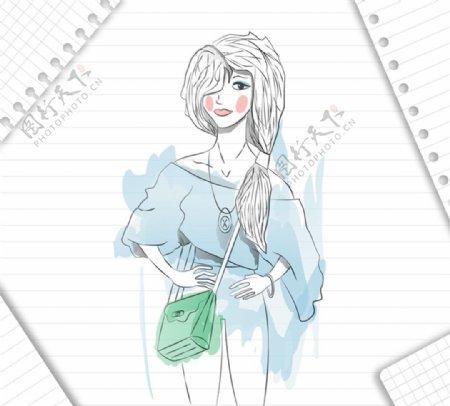 彩绘时尚女子矢量素材