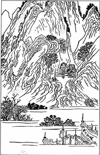 古版画小说类人物画矢量EPS格式0129