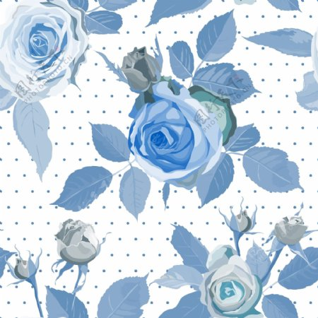 蓝玫瑰花矢量图