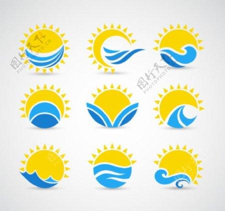 阳光大海太阳海浪标志卡通图标LOGO商标