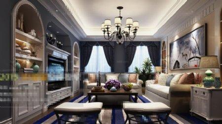 美式客厅沙发3D模型素材免费下载