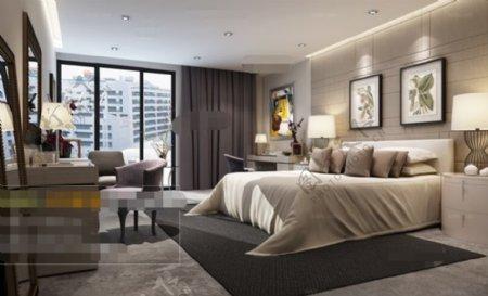 卧室空间场景3D模型素材免费下载