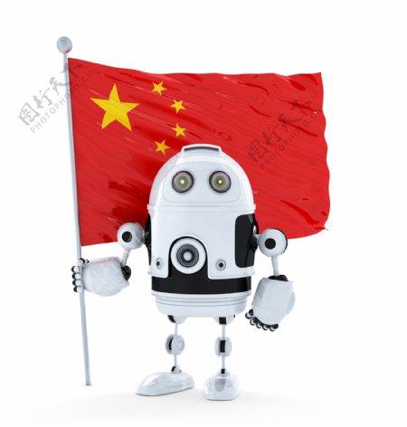 有中国国旗的Android机器人站