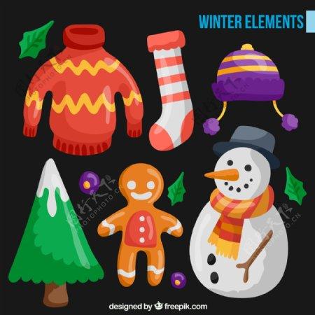 卡通冬季元素