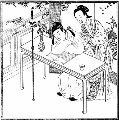 古版画小说类人物画矢量EPS格式0208