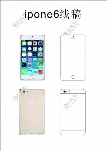 iphone6手机线稿图形设计素材
