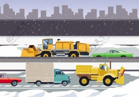 除雪机清洁城市道路插画