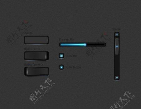黑色立体质感UI元素
