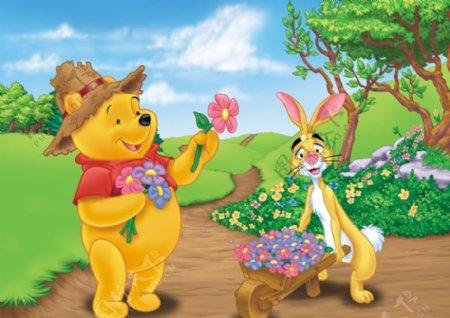 快乐小熊维尼送花可爱小白兔