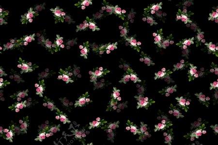手绘油画蔷薇花数码印花面料花型四方连续