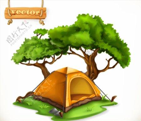 草地上的帐篷和大树矢量素材