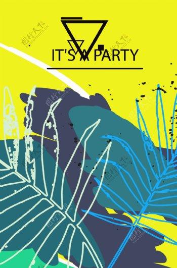抽象植物海报矢量图下载