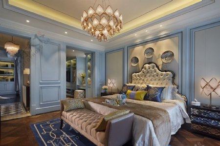 现代时尚公主风浅蓝色背景墙室内装修效果图