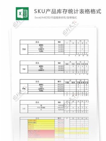sku产品库存统计表格格式
