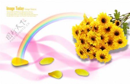黄色菊花清新梦幻背景素材