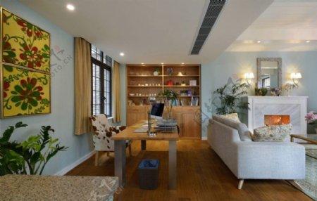 清新婉约客厅浅蓝色背景墙室内装修效果图