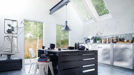 宽敞明亮超大厨房效果图设计max格式