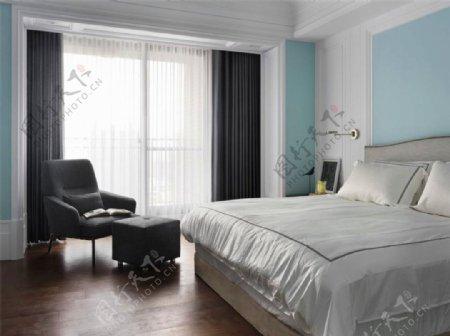 清新卧室浅蓝色背景墙室内装修效果图