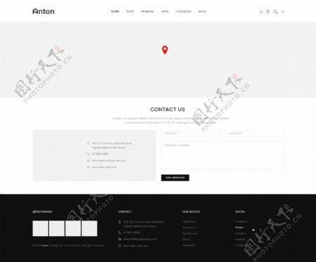 UI网页联系我们黑白灰简约PSD模板