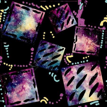 斑斓水彩正方形图案png透明素材