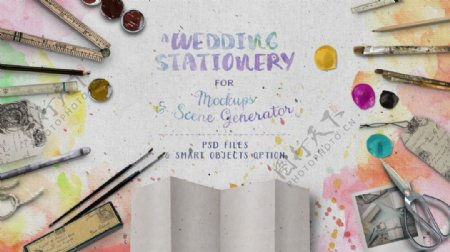 婚礼文具手绘网页背景素材